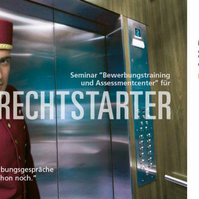 """Flyervorderseite mit Gutschein für einSeminar """"Bewerbungstraining"""" Zielgruppe Männer"""