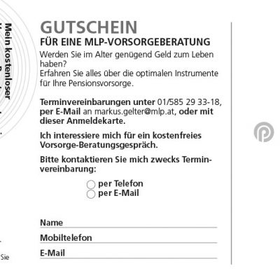 """Flyerrückseite mit Gutschein für ein Beratungsgespräch """"Pensionsvorsorge"""""""