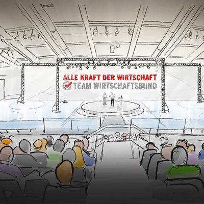 Scribble Rohskizze als erste Visualisierung der Großveranstaltung zum Wahlkampfauftakt
